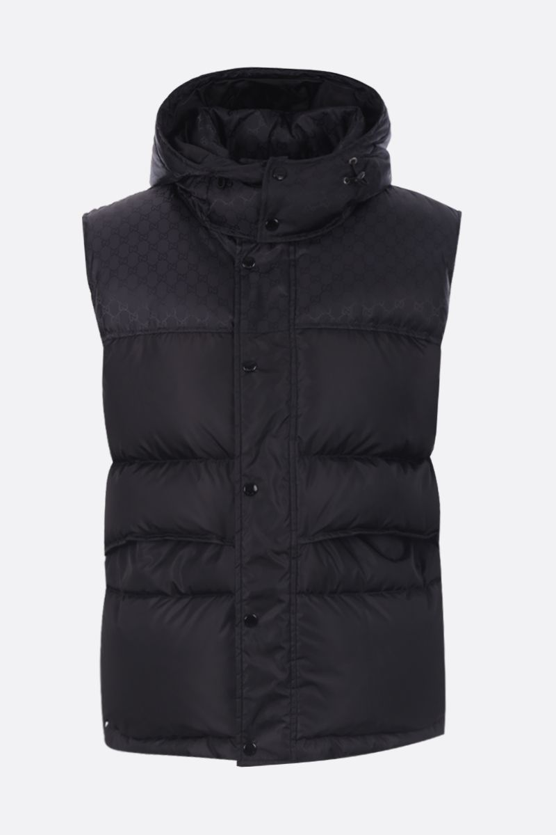 GUCCI: GG nylon sleeveless down jacket Color Black_1