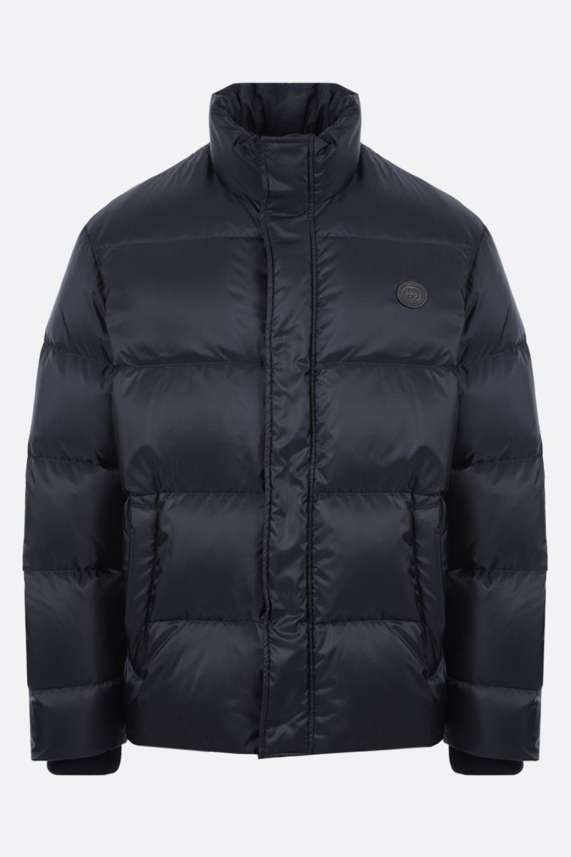 GUCCI: thinkhank print nylon down jacket Color Blue_1