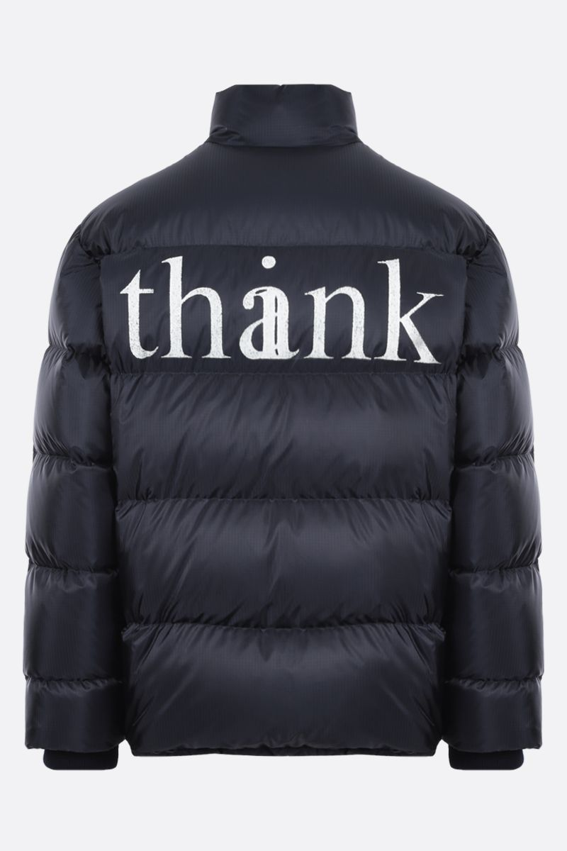 GUCCI: thinkhank print nylon down jacket Color Blue_2