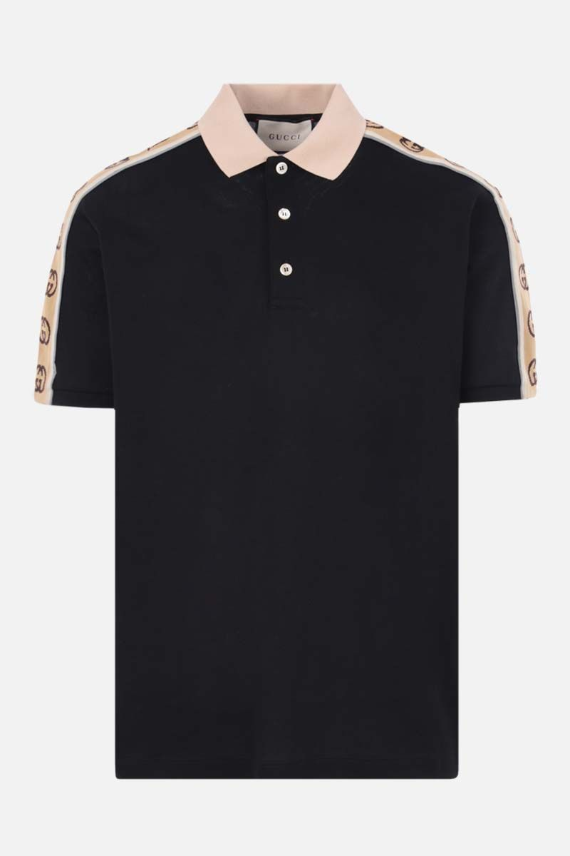 GUCCI: Interlocking G-detailed stretch cotton polo shirt Color Black_1
