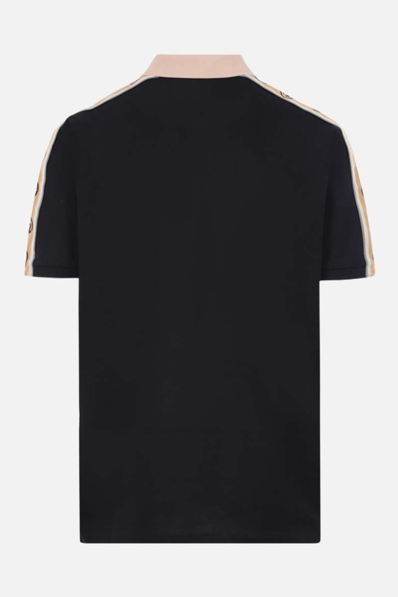 GUCCI: Interlocking G-detailed stretch cotton polo shirt Color Black_2