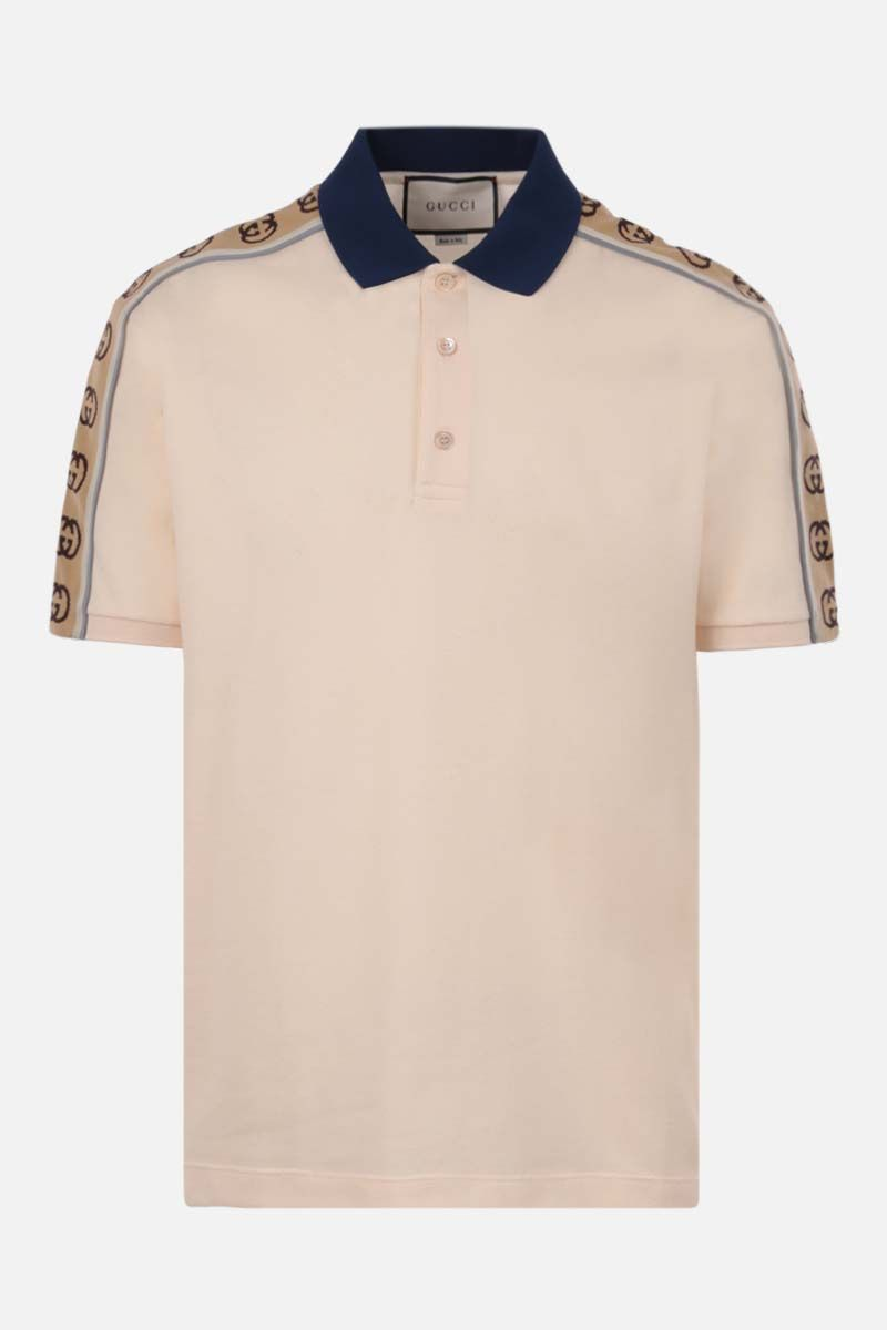 GUCCI: Interlocking G-detailed stretch cotton polo shirt Color White_1