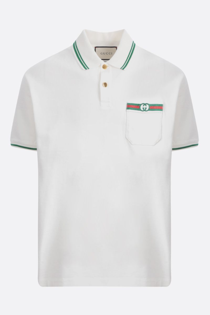 GUCCI: Web embroidered cotton polo shirt Color Multicolor_1
