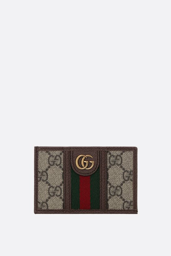 GUCCI: Ophidia GG Supreme canvas and leather card case Color Brown_1