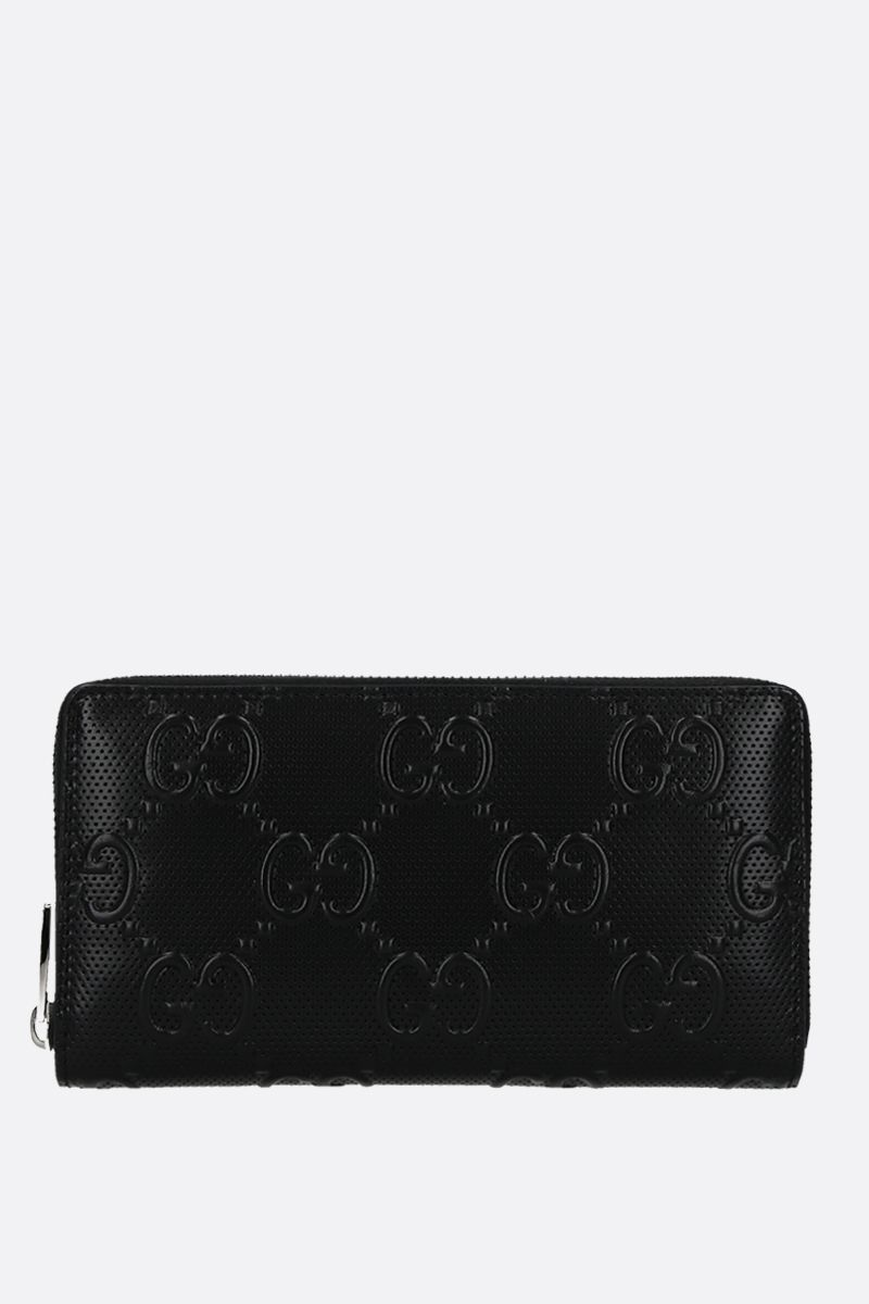 GUCCI: GG embossed leather zip-around wallet Color Black_1
