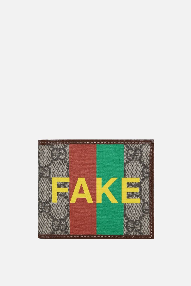 GUCCI: Fake/Not print GG Supreme billfold wallet Color Neutral_1