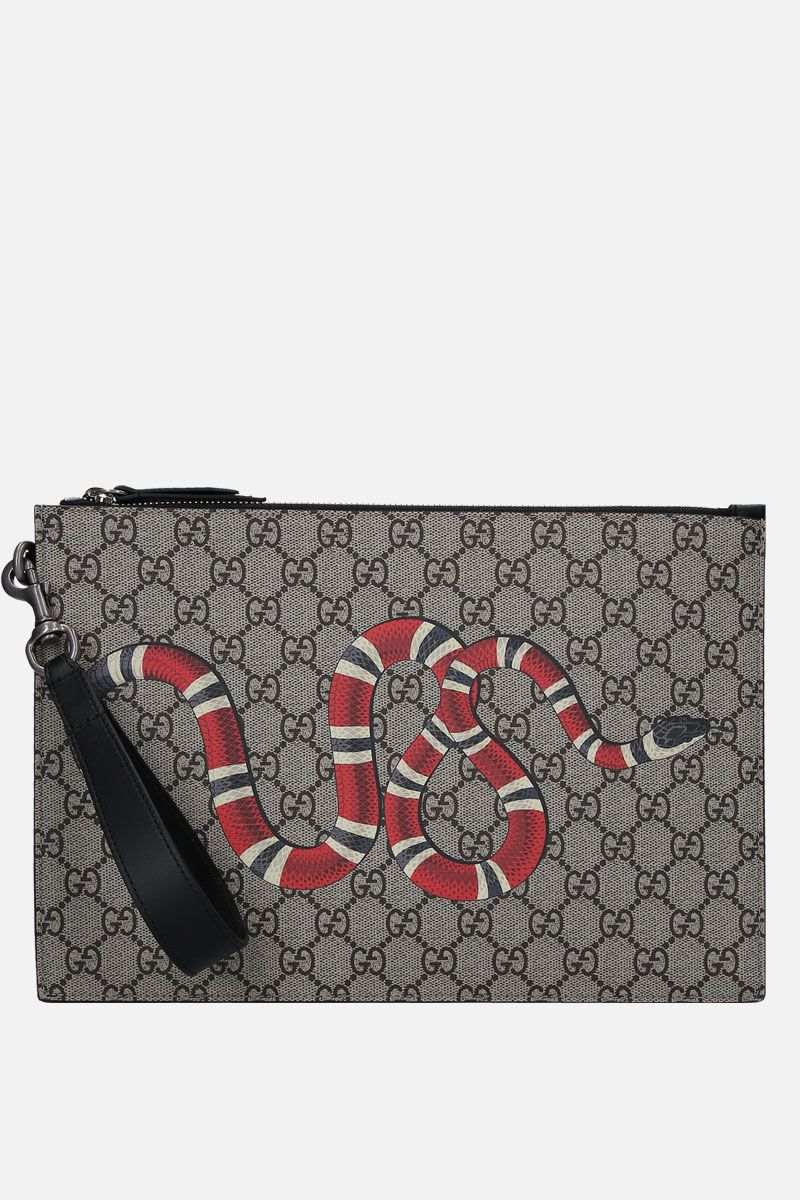 GUCCI: Kingsnake print GG Supreme canvas clutch Color Neutral_1