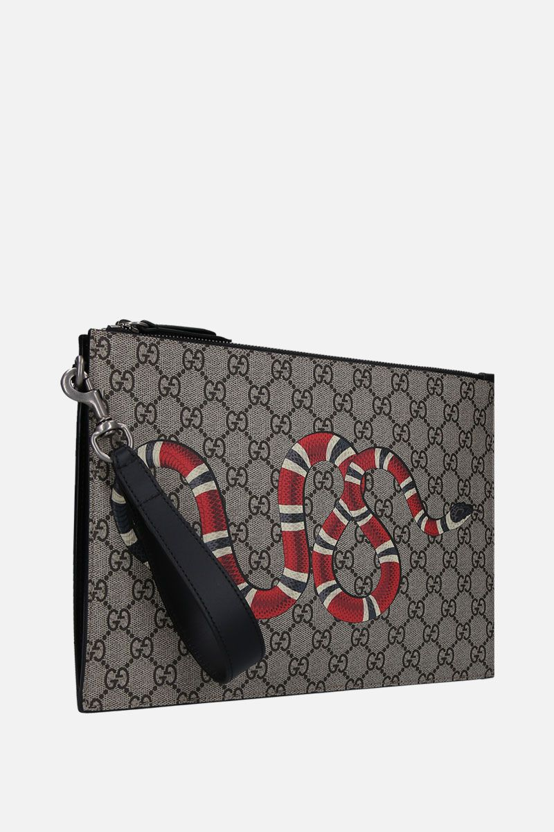 GUCCI: Kingsnake print GG Supreme canvas clutch Color Neutral_2