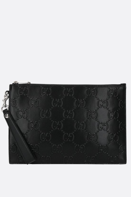 GUCCI: GG leather pouch Color Black_1