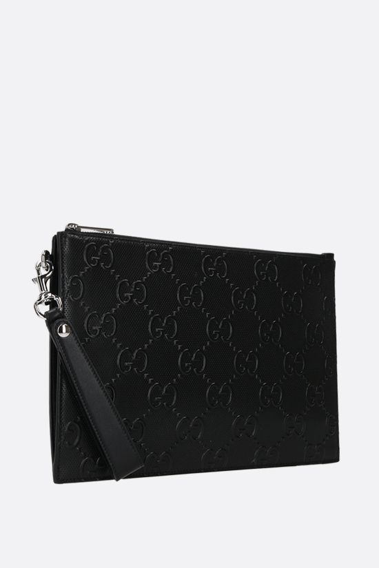 GUCCI: GG leather pouch Color Black_2