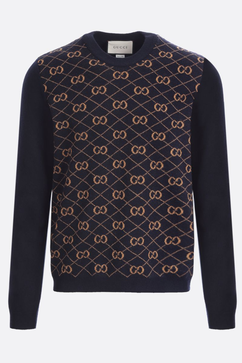 GUCCI: GG intarsia wool pullover Color Blue_1