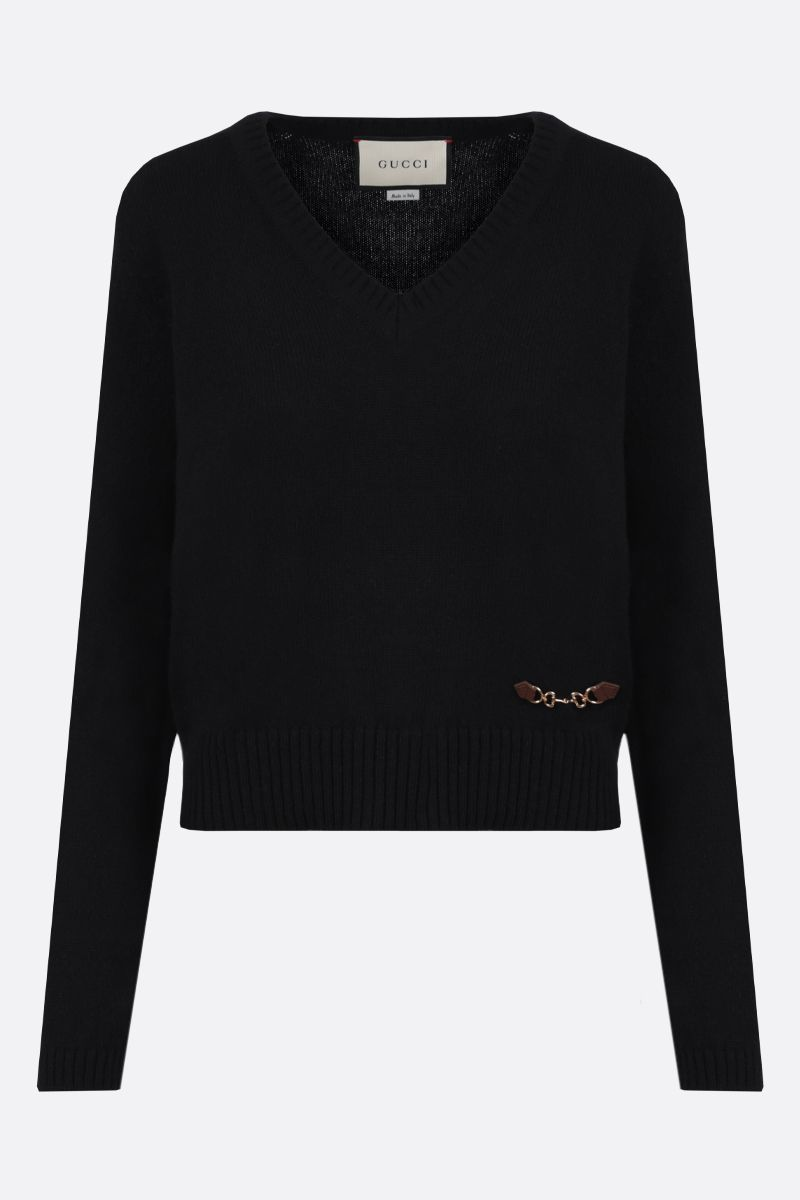 GUCCI: Horsebit-detailed cashmere pullover Color Black_1