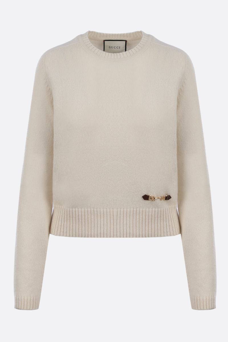 GUCCI: Horsebit-detailed cashmere pullover Color White_1