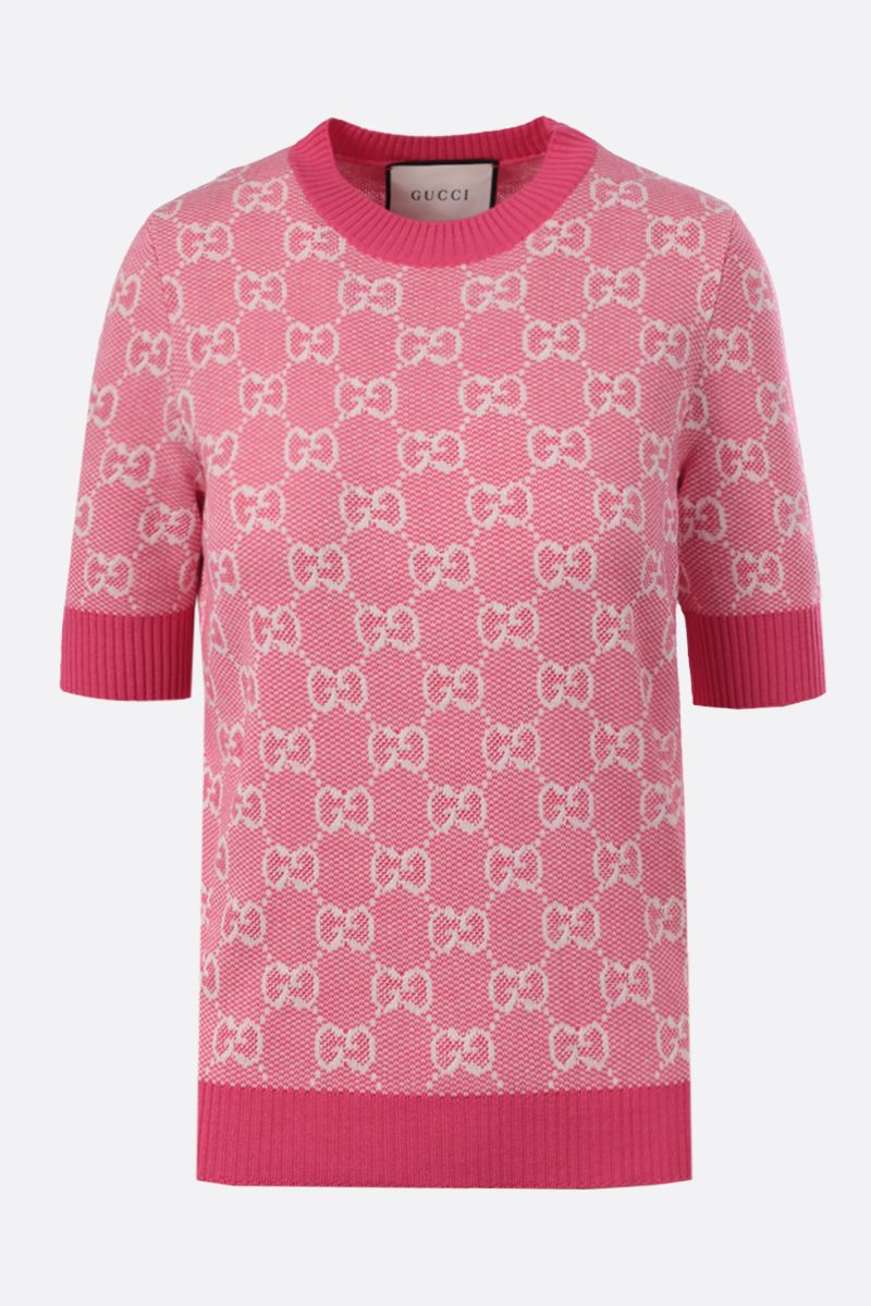 GUCCI: GG wool cotton blend short-sleeved pullover Color Pink_1