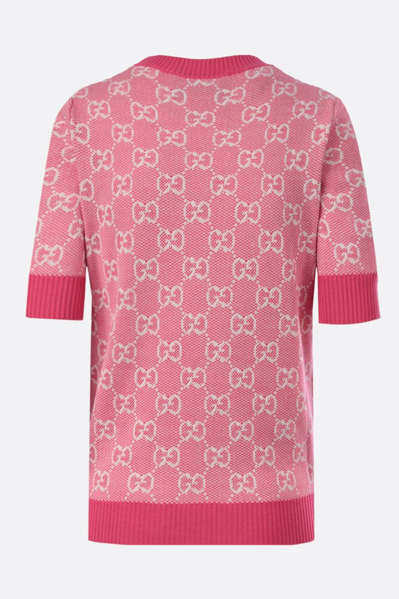 GUCCI: GG wool cotton blend short-sleeved pullover Color Pink_2