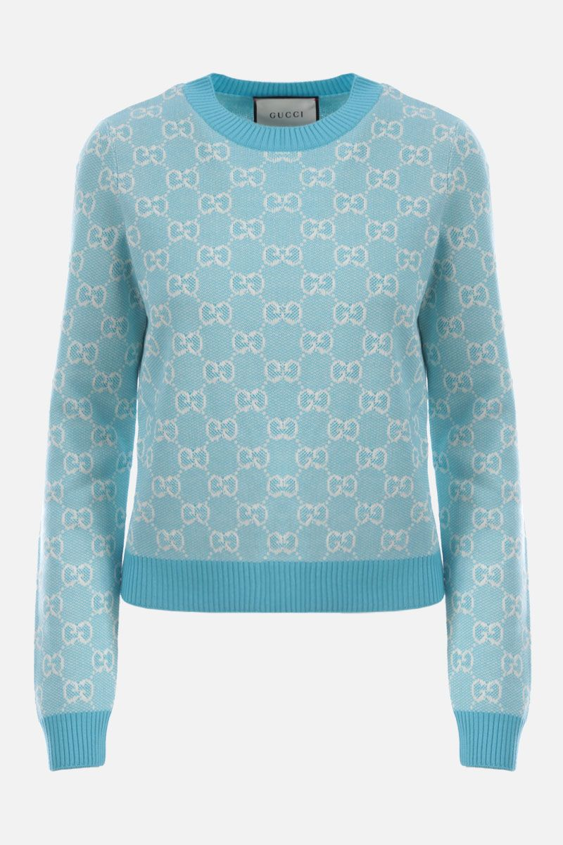 GUCCI: GG wool cotton blend pullover Color Blue_1