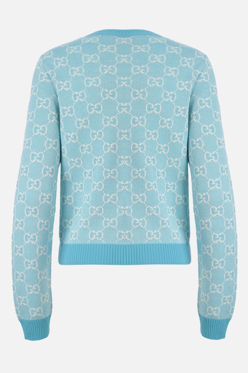 GUCCI: GG wool cotton blend pullover Color Blue_2