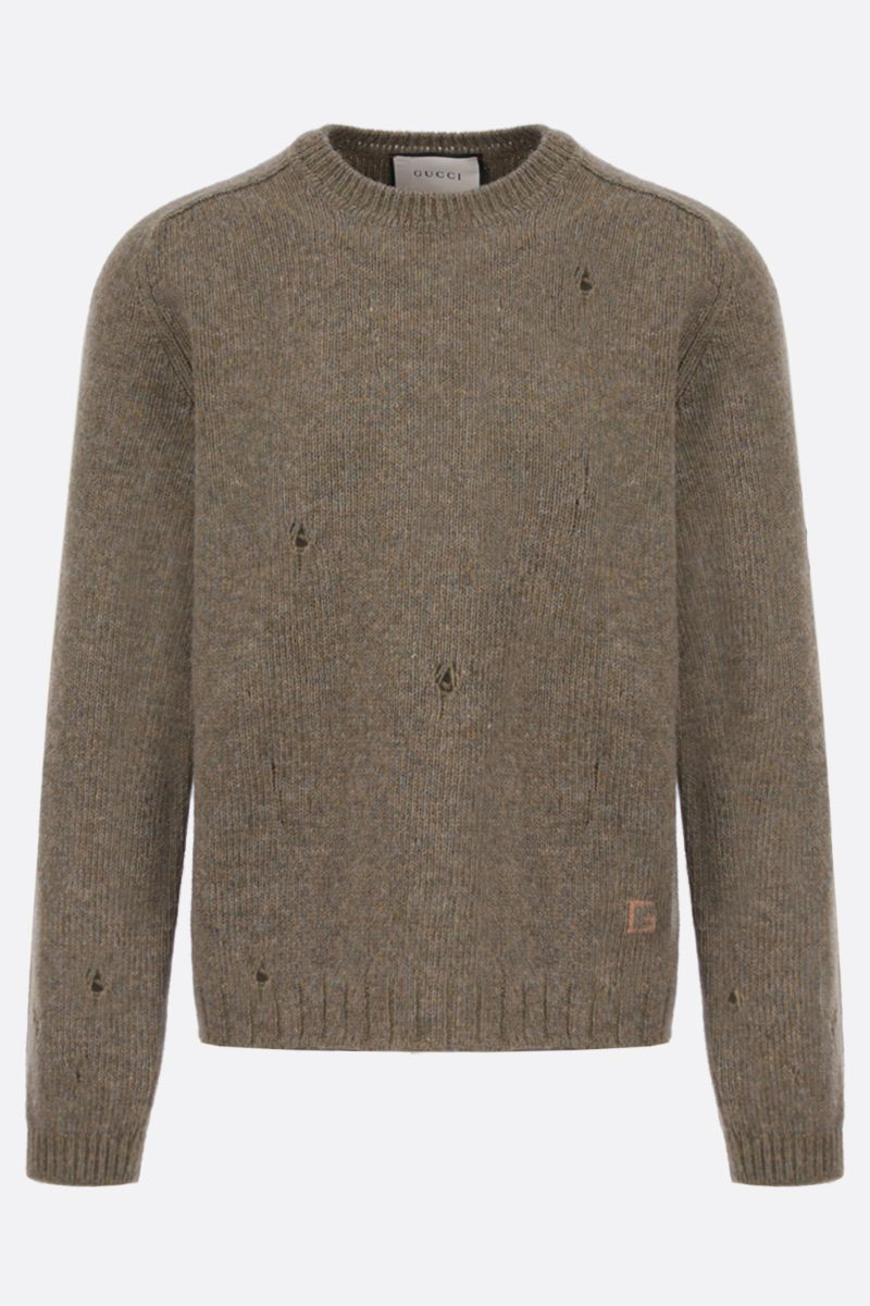 GUCCI: distressed-effect wool pullover Color Green_1