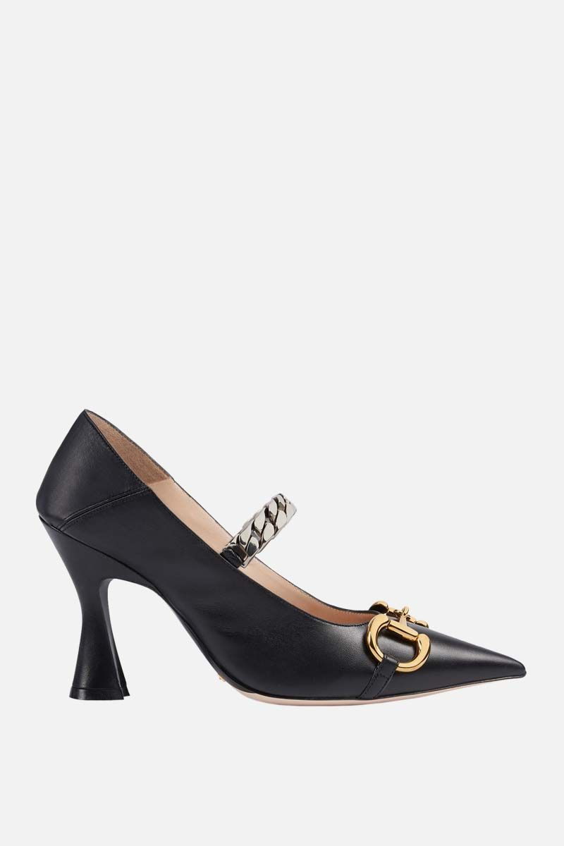 GUCCI: Horsebit-detailed smooth leather pumps Color Black_1