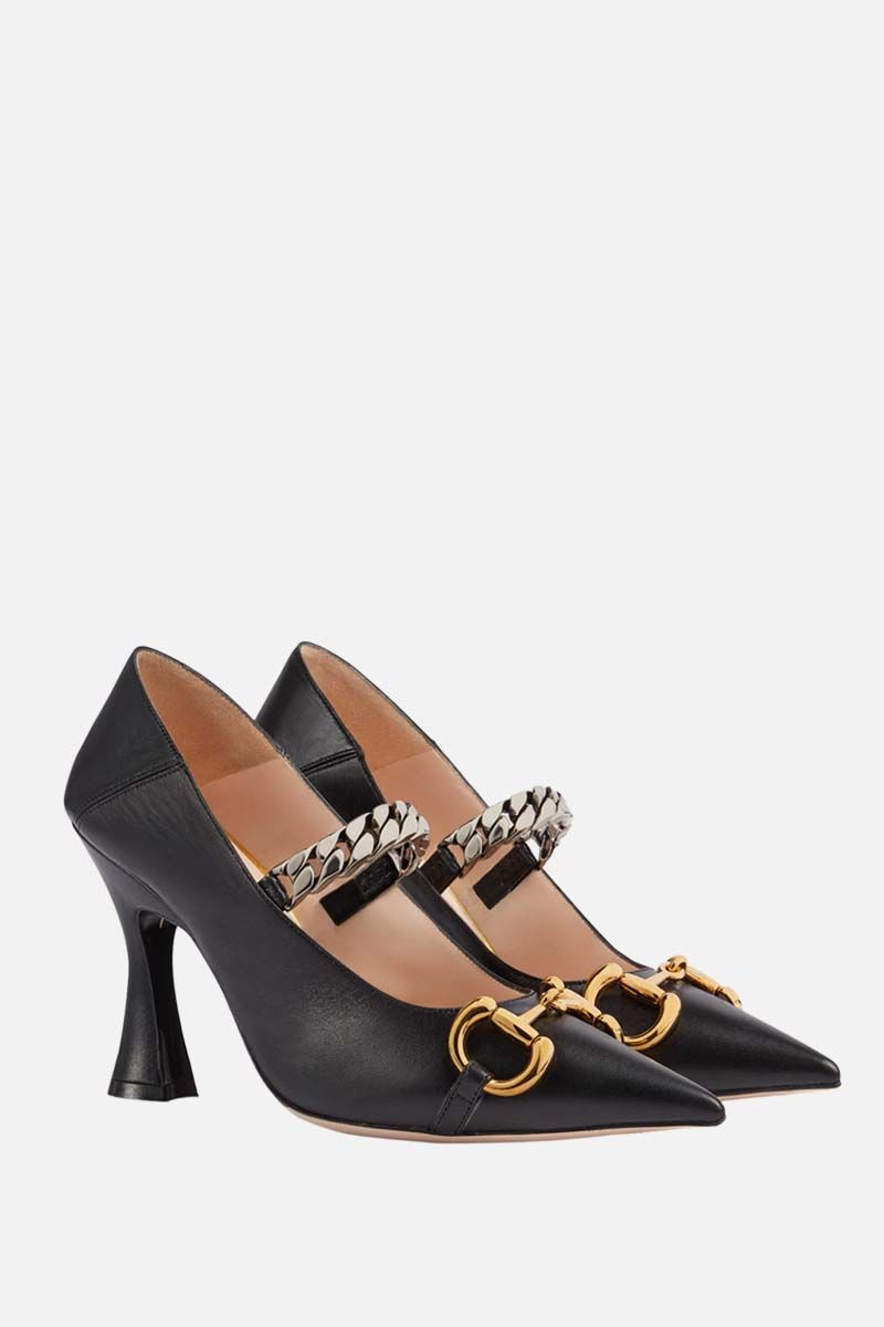 GUCCI: Horsebit-detailed smooth leather pumps Color Black_2
