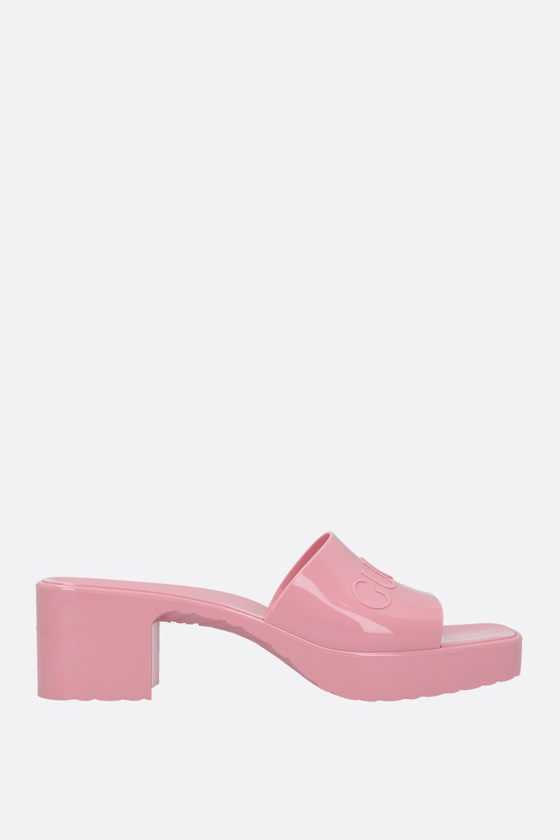 GUCCI: logo-detailed rubber mule sandals Color Pink_1