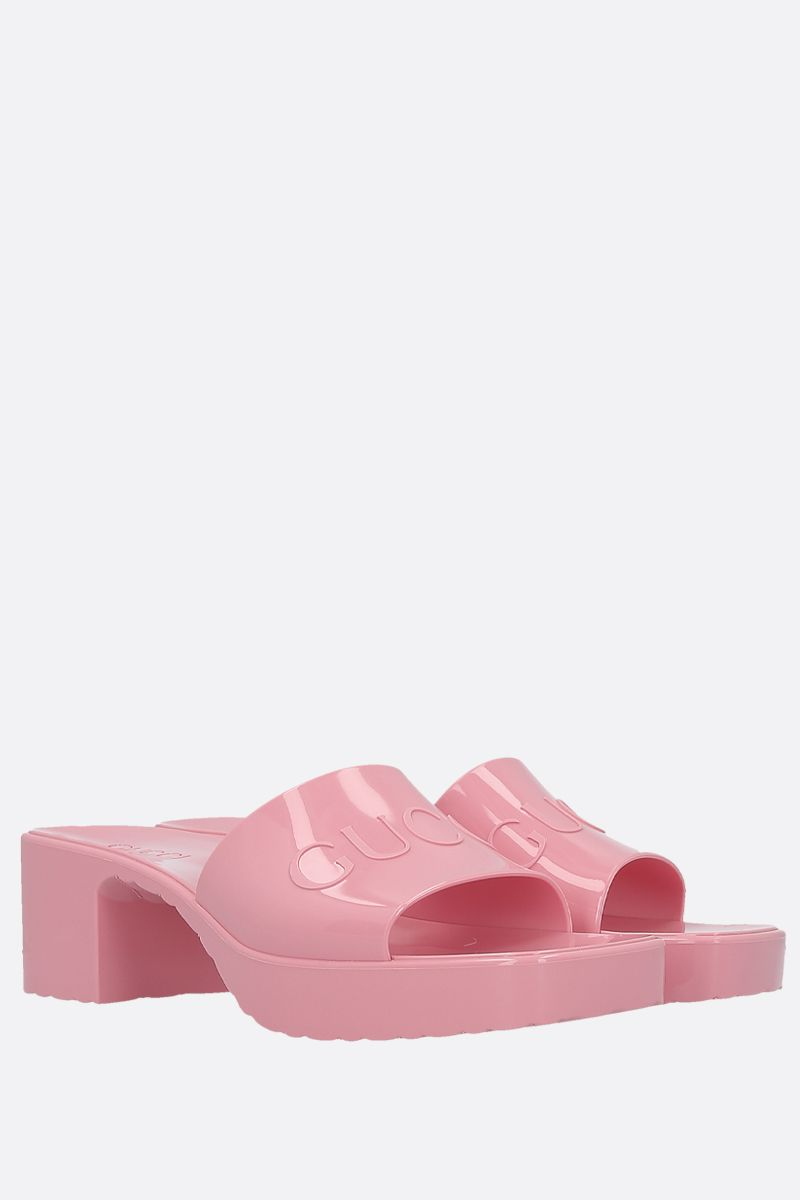 GUCCI: logo-detailed rubber mule sandals Color Pink_2