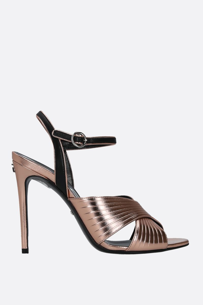 GUCCI: laminated and smooth leather sandals Color Pink_1