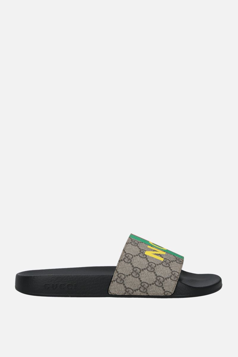 GUCCI: Fake/Not print GG Supreme slide sandals Color Neutral_1