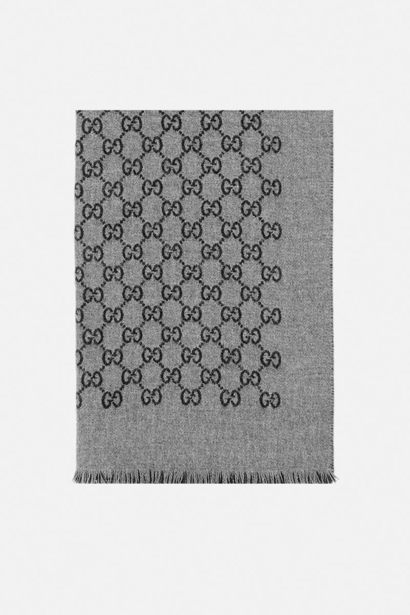 GUCCI: GG motif double jacquard scarf Color Grey_1