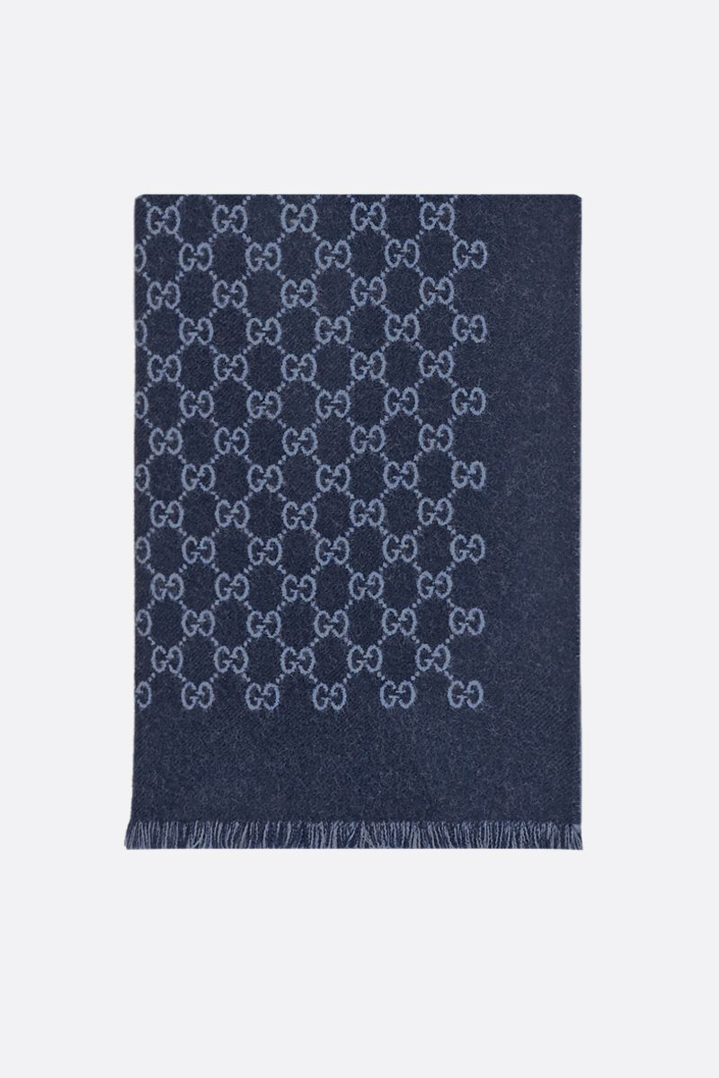 GUCCI: GG motid double jacquard scarf Color Blue_1