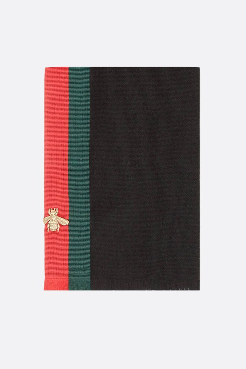 GUCCI: Web-detailed wool blend scarf Color Black_1