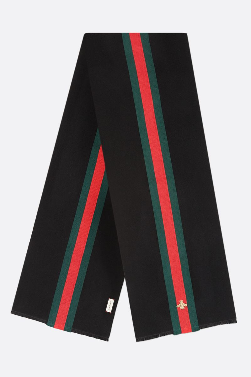 GUCCI: Web-detailed wool blend scarf Color Black_2