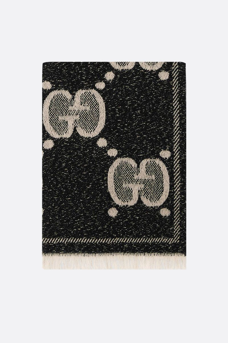 GUCCI: GG wool jacquard scarf Color Black_1