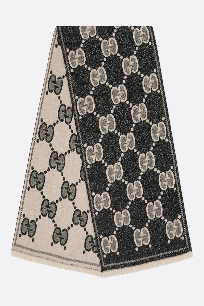 GUCCI: GG wool jacquard scarf Color Black_2