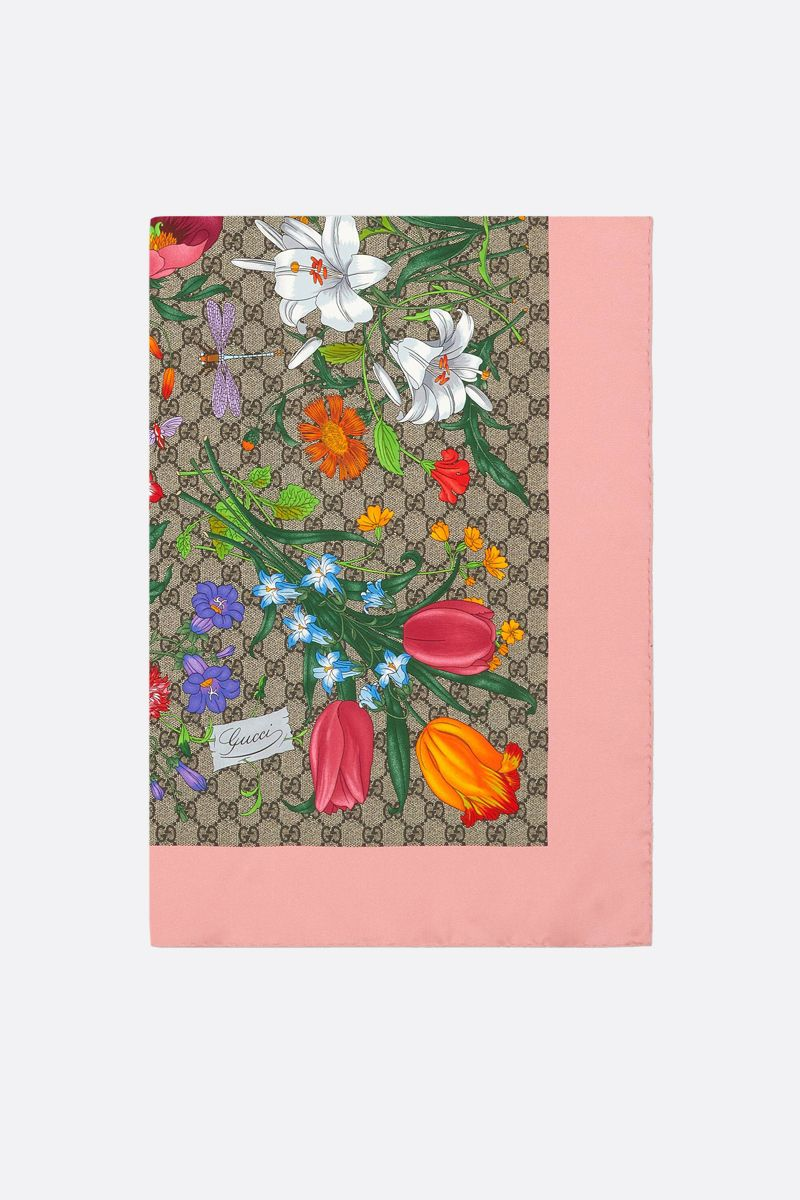 GUCCI: GG Flora print silk twill foulard Color Multicolor_1