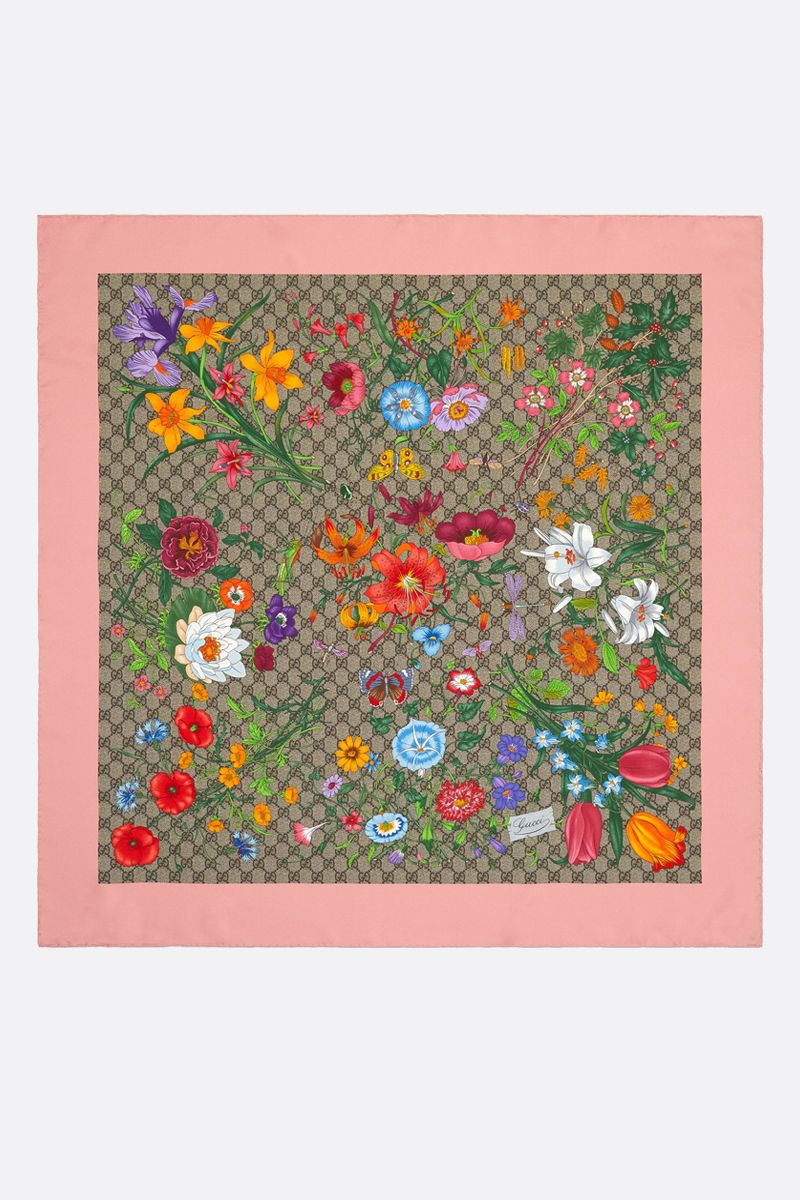 GUCCI: GG Flora print silk twill foulard Color Multicolor_2