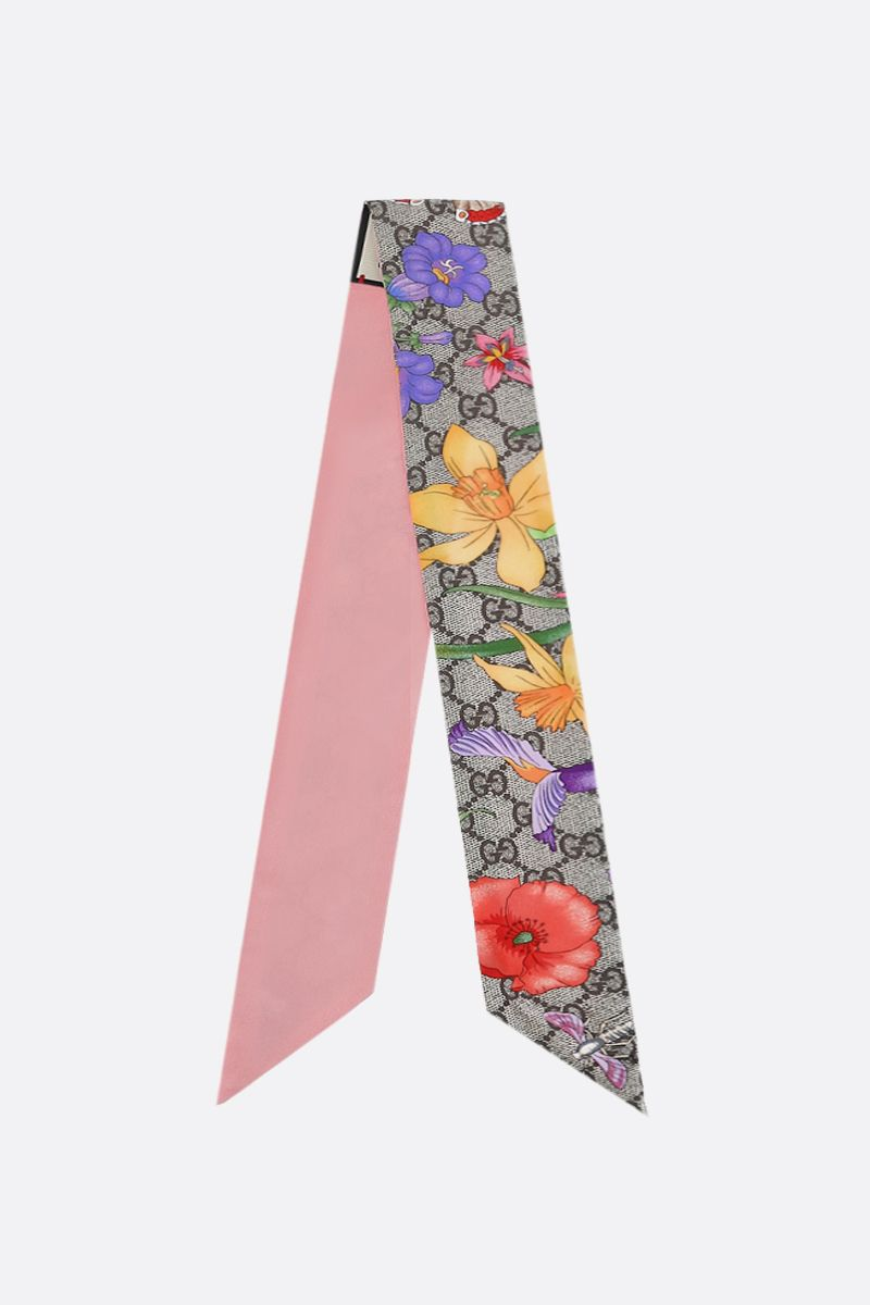 GUCCI: GG Flora printed silk neck bow Color Multicolor_1