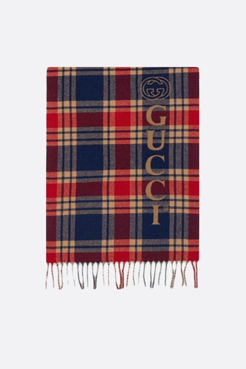 GUCCI: check wool cashmere scarf_1