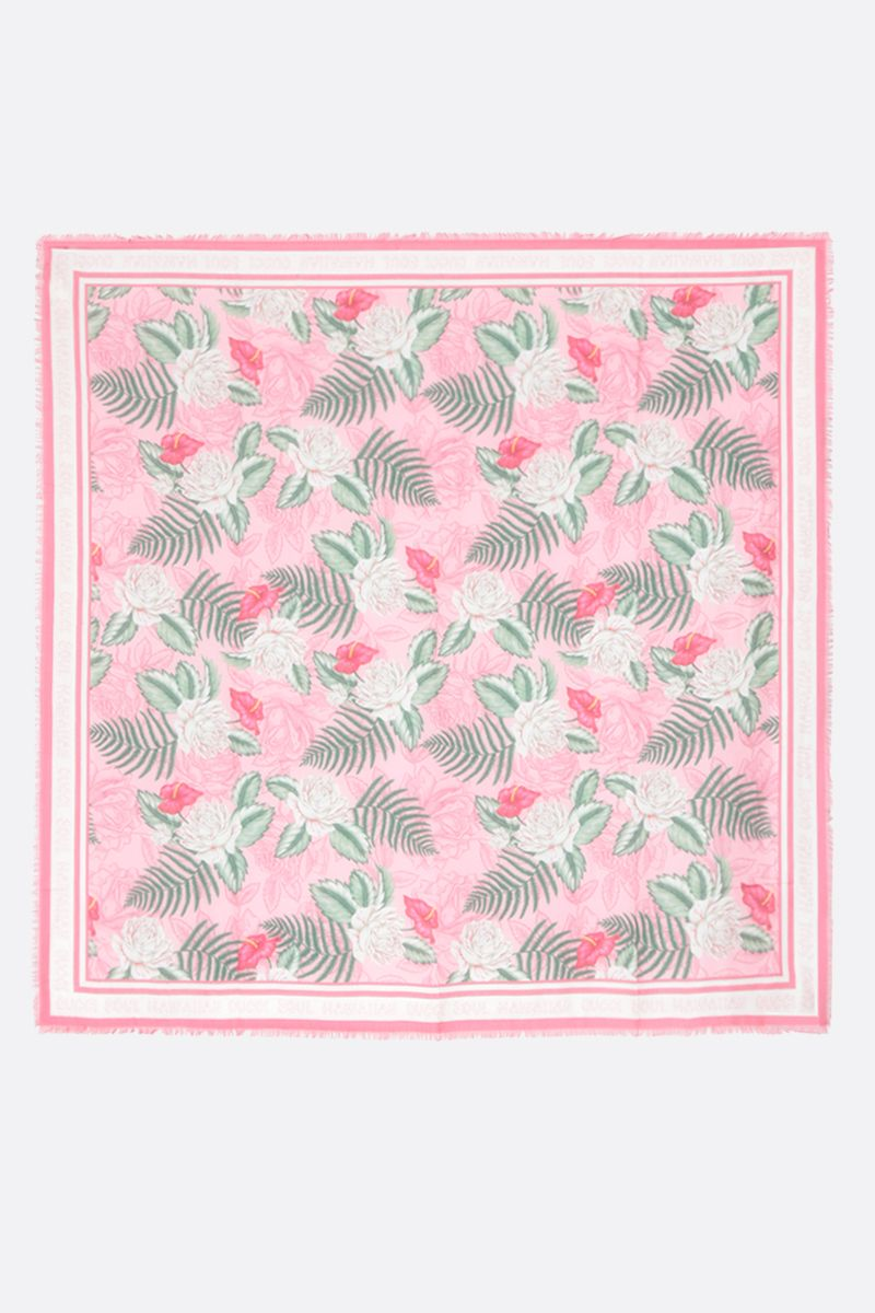 GUCCI: Hawaiian print modal silk blend shawl_2