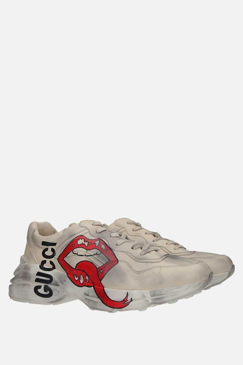GUCCI: Rhyton smooth leather sneakers Color Neutral_2
