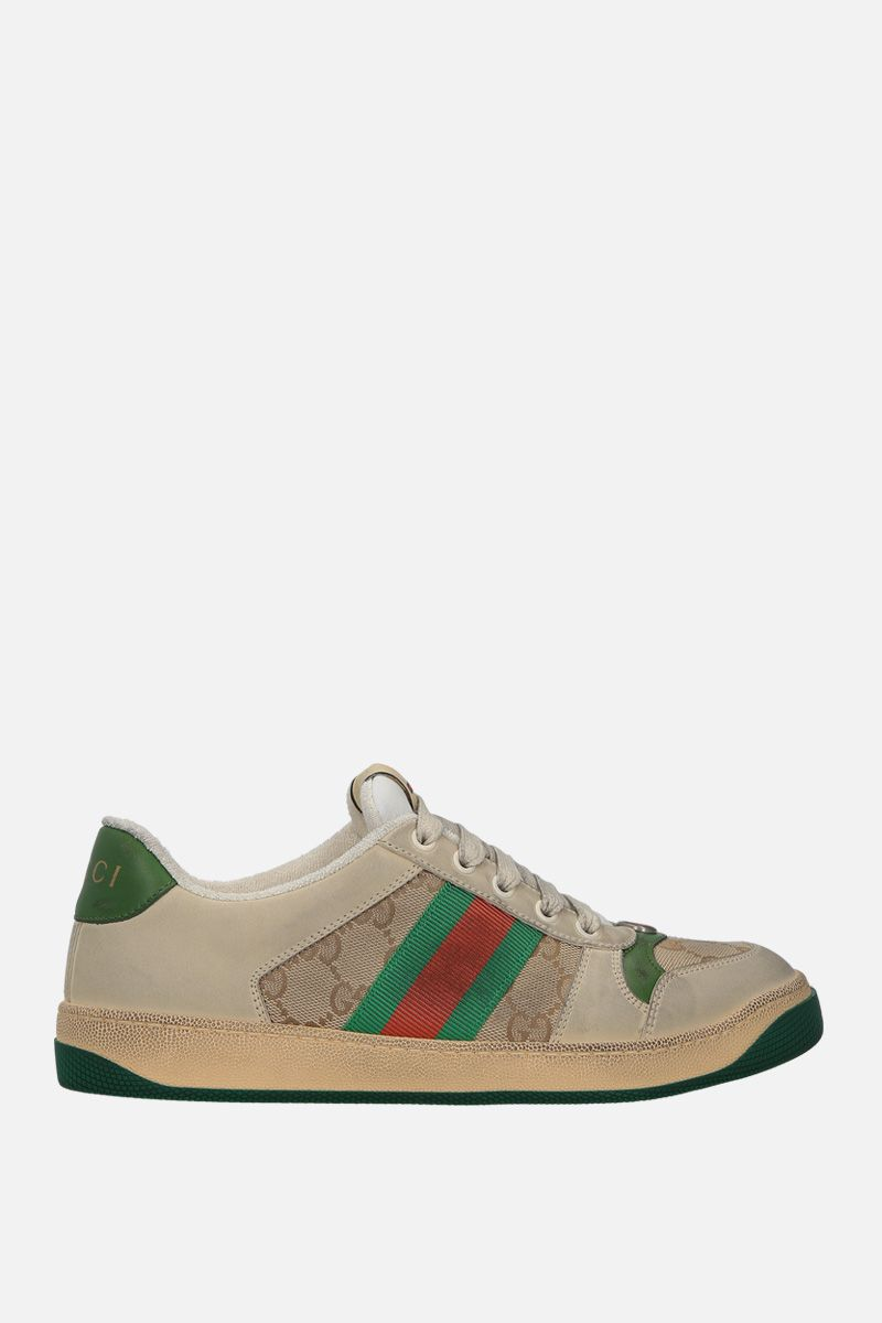 GUCCI: Screener nabuk and canvas sneakers Color Neutral_1