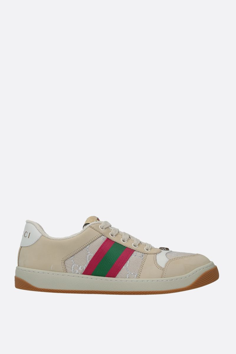 GUCCI: Screener nabuck and GG canvas sneakers_1