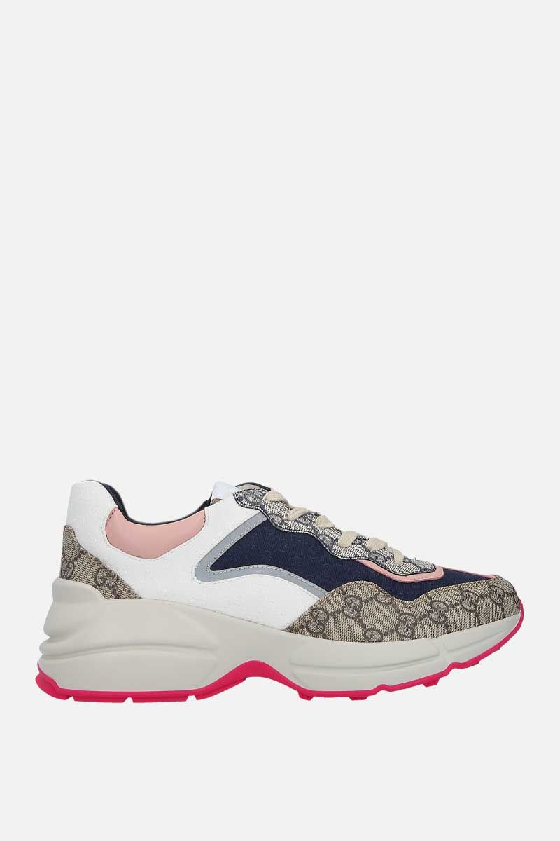 GUCCI: sneaker Rython GG in un mix di materiali Colore Multicolore_1