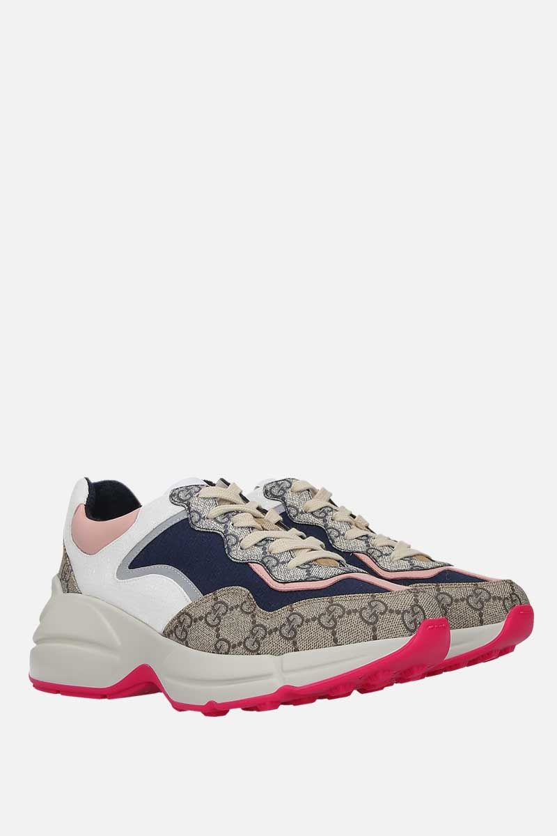GUCCI: sneaker Rython GG in un mix di materiali Colore Multicolore_2