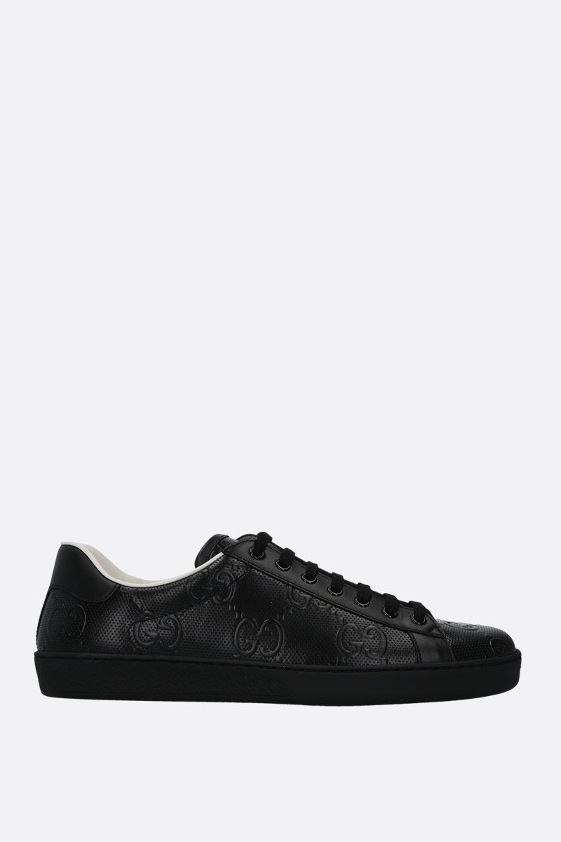 GUCCI: Ace low-top sneakers in GG leather Color Black_1