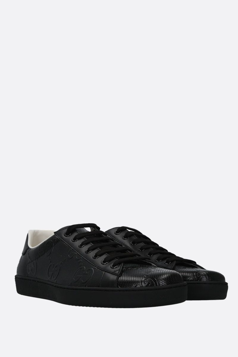 GUCCI: Ace low-top sneakers in GG leather Color Black_2
