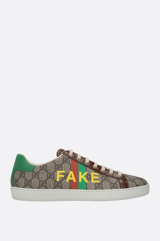 GUCCI: Ace Fake/Not print GG Supreme canvas sneakers Color Multicolor_1