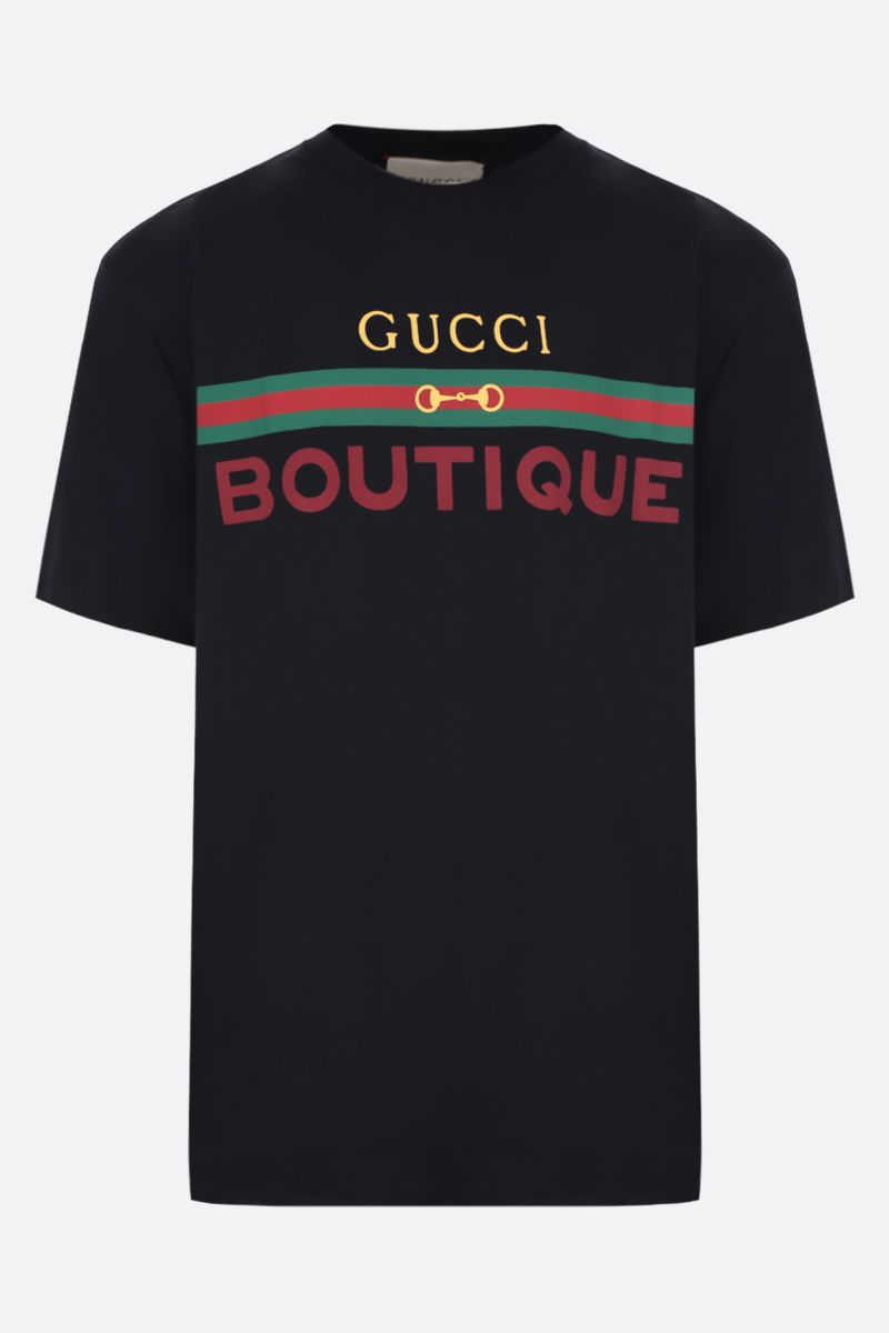 GUCCI: Gucci Boutique print cotton oversize t-shirt Color Black_1