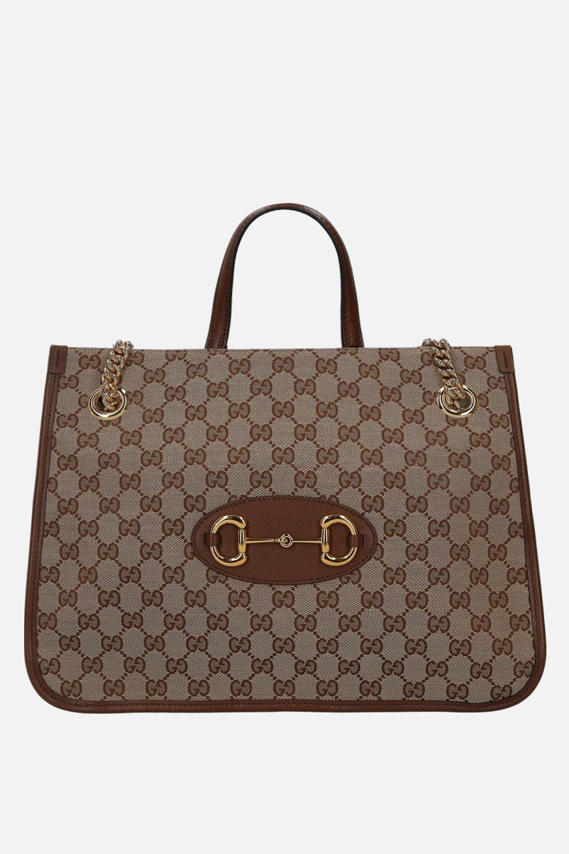 GUCCI: Gucci 1955 Horsebit handbag in Original GG canvas Color Brown_1