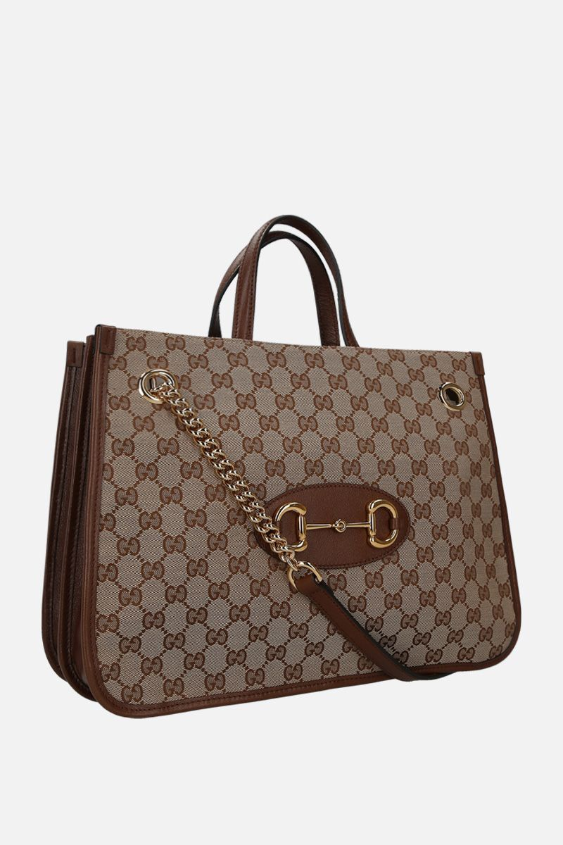 GUCCI: Gucci 1955 Horsebit handbag in Original GG canvas Color Brown_2